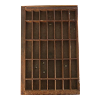 Vintage Wood Office Coin File Storage Printers Block Tray