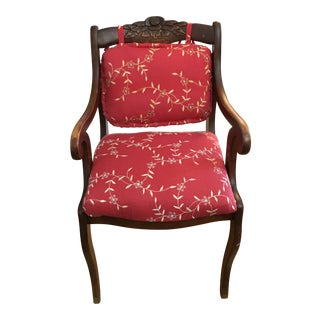 Antique Carved Rose Wood Plush Flower Upholstered Arm Side Chair For Sale