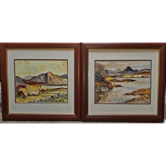 Black Irish Pair of Large Watercolors by Noel Hume - 2006 - in the Style of Paul Henry For Sale - Image 8 of 9