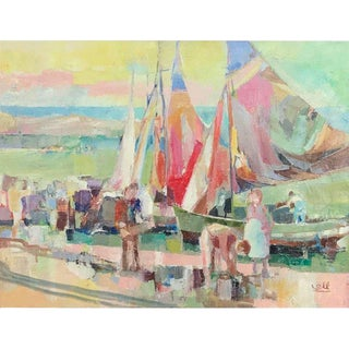 "Albert Coll ""Port De Peche"" Impressionist Oil Painting, 1950s For Sale"