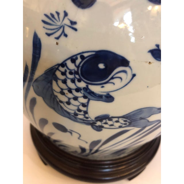 Ceramic Classic Blue and White Canton Style Ginger Jar Lamps With Carp-A Pair For Sale - Image 7 of 11