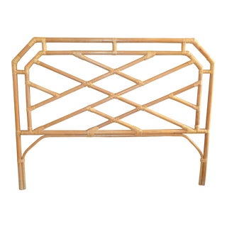 Chinese Chippendale Tan Rattan Headboard For Sale
