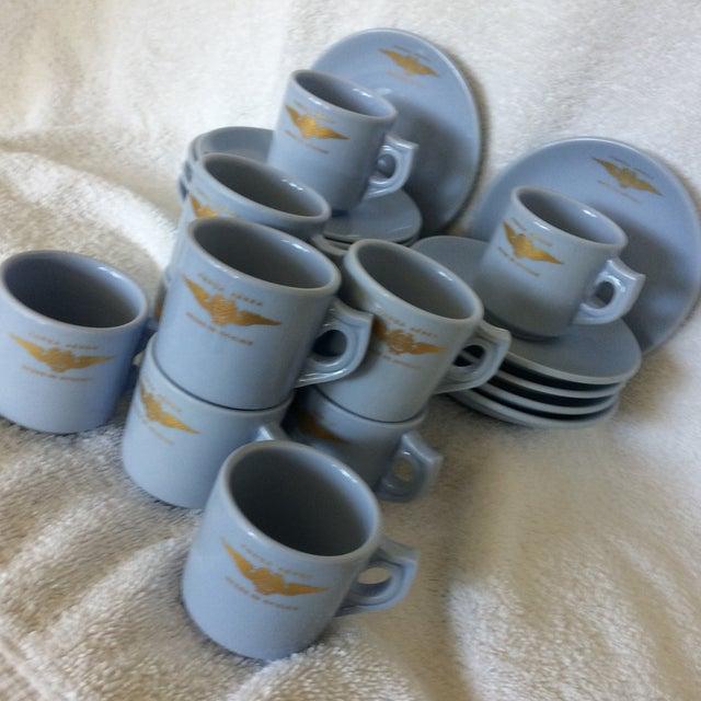 "Very Rare Vintage Set of Vista Alegre Impact Baby Blue Portuguese ""Forca Aerea Messe De Oficiais"" Demitasse Cups & Saucers -Set of 10 For Sale - Image 12 of 13"