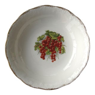 Antique Serving Bowl With Decorations of Redcurrants For Sale