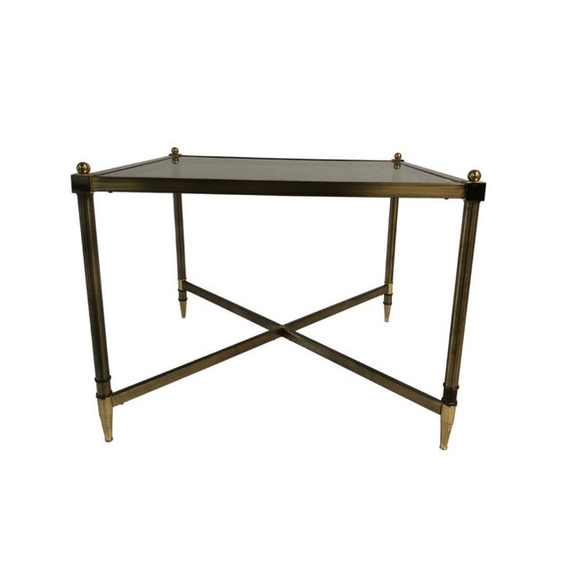 Maison Jansen 1960s Mid Century Brass Side Table Light Smokey Glass Top For Sale - Image 4 of 5
