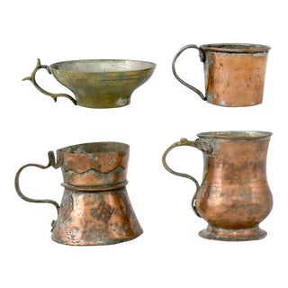 Antique Turkish Copper & Brass Handled Cups & Mugs - Set of 4 For Sale