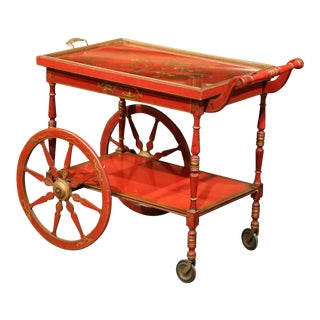Early 20th Century French Painted Red and Gilt Bar Cart With Chinoiserie Motifs For Sale