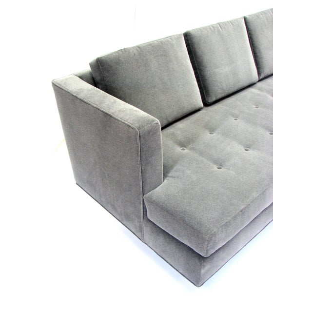 Contemporary Mid-Century Dunbar Sofa by Edward Wormley in New Velvet Fabric For Sale - Image 3 of 9