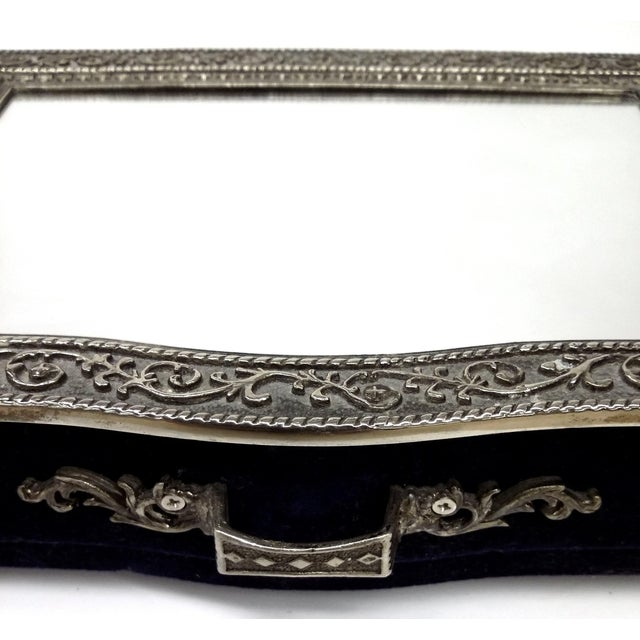 Vintage Silver Carved Deep Navy Jewelry Box - Image 7 of 7