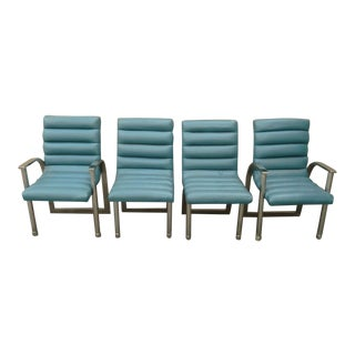 1970's Jay Spectre Light Blue Leather Dining Room Chairs - Set of 4 For Sale