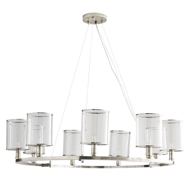 Arteriors Modern Silver Metal and Glass Lorena Fixed Chandelier For Sale