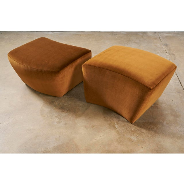 Contemporary Uncommon Vladimir Kagan Swivel Chairs With Matching Ottomans For Sale - Image 3 of 7