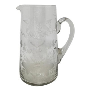 19th Century Etched Glass Pitcher For Sale