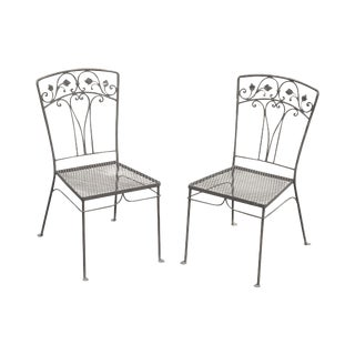 Salterini Vintage Wrought Iron Pair Garden Side Chairs For Sale