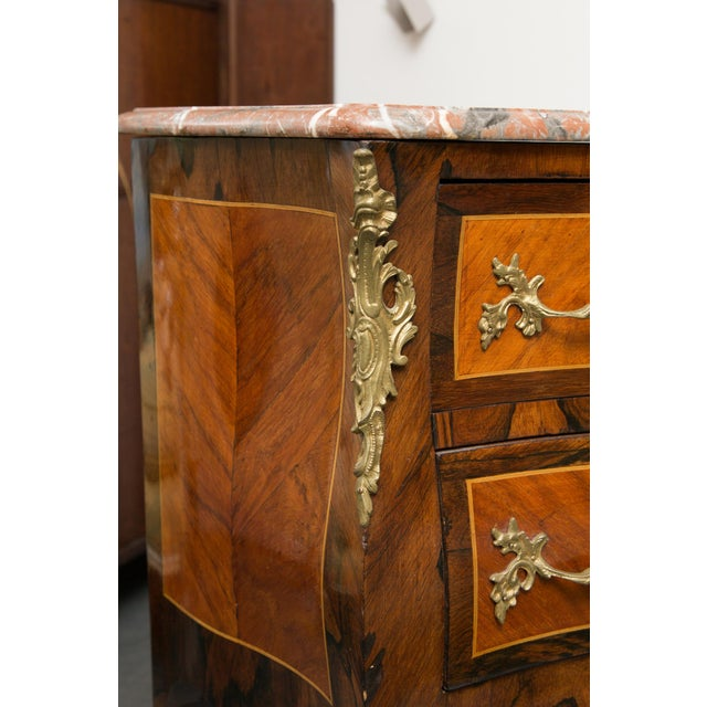 Brown Louis XV Style Two-Drawer Commode With Marble Top, 20th Century For Sale - Image 8 of 10
