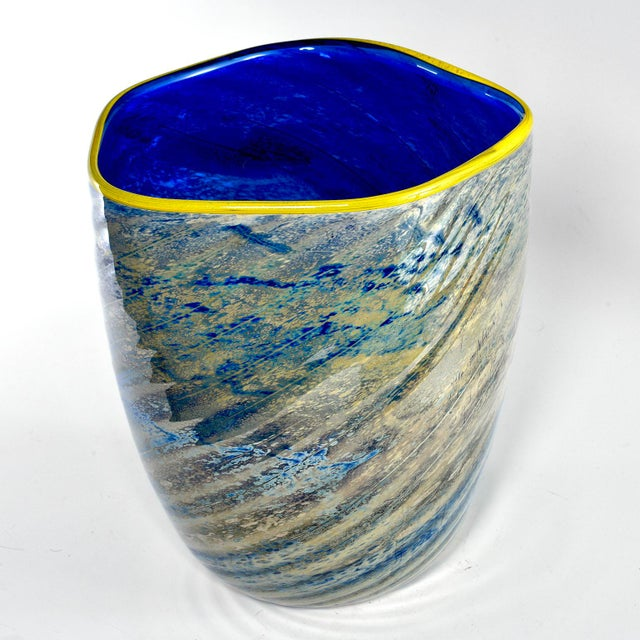 Large Cobalt Blue and Yellow Art Glass Vase For Sale - Image 4 of 9
