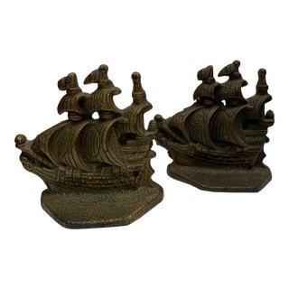 1950s Vintage Brass English Galleon Ship Bookends - a Pair For Sale