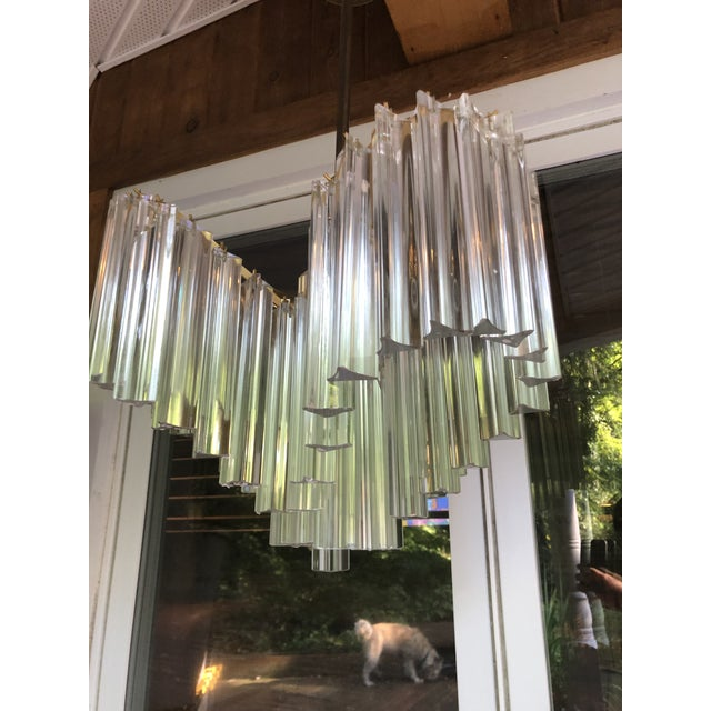 Metal Vintage Italy Mid-Century Venini Camer Murano Glass Chandelier For Sale - Image 7 of 13