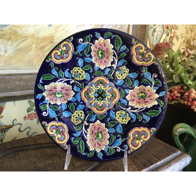 Antique French Faience Colorful Longwy Plate For Sale - Image 13 of 13