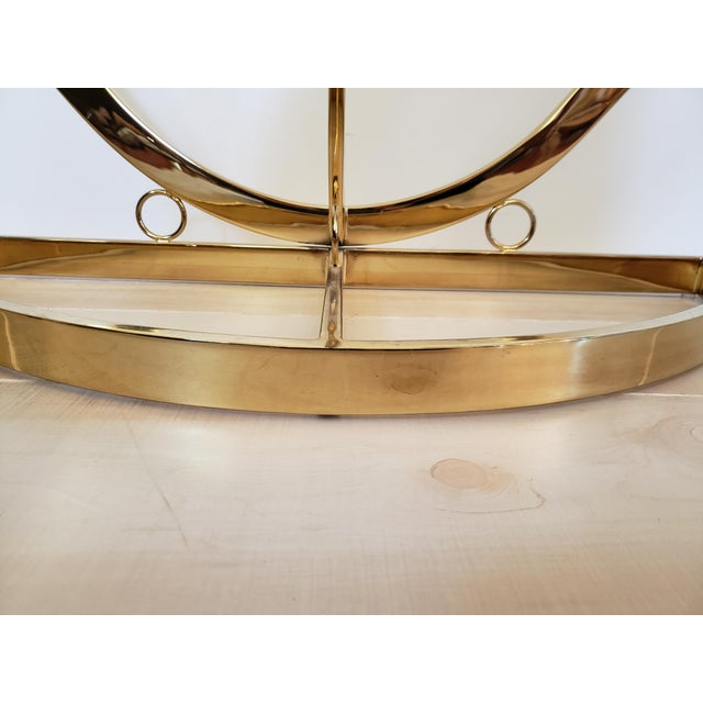 Pierre Cardin 1970s Hollywood Regency Brass Glass Rams Head Console Table For Sale - Image 4 of 12