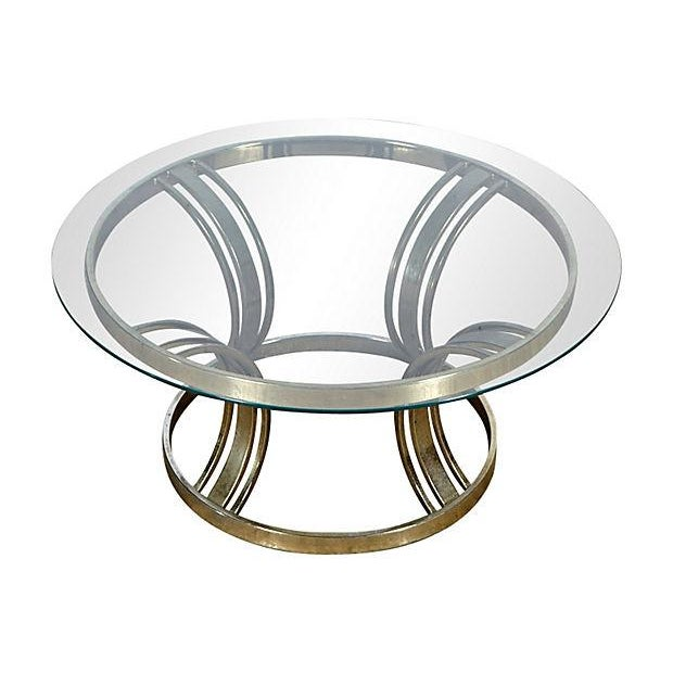 Round Brass & Glass Top Side Table - Image 2 of 4