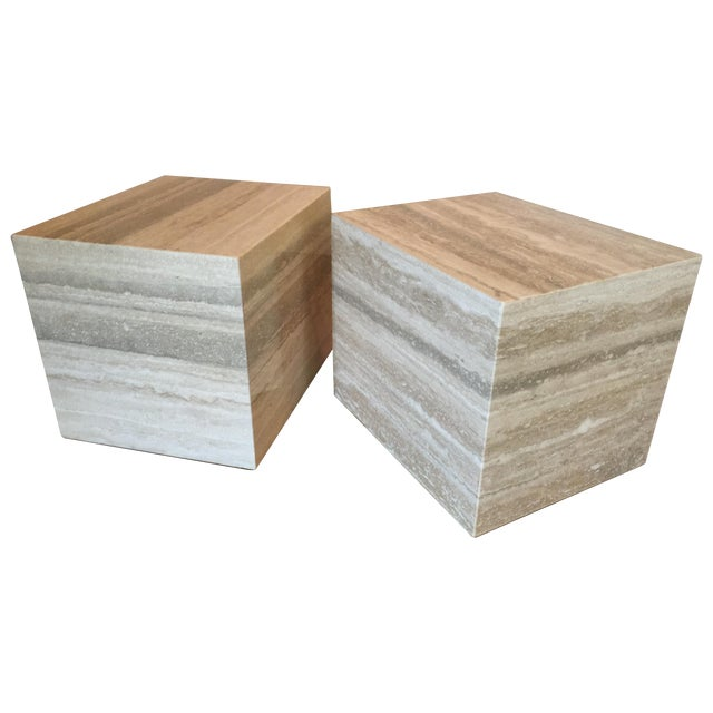 Travertine Marble Cube Side Tables