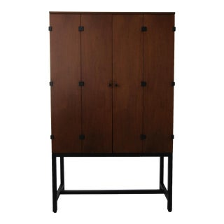 Mid Century Walnut Armoire Cabinet by Milo Baughman for Directional For Sale