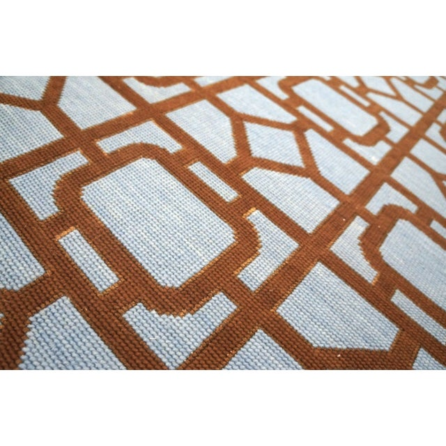 """Blue Modern Needlepoint Wool Rug 9'0"""" X 12'0"""" For Sale - Image 8 of 10"""