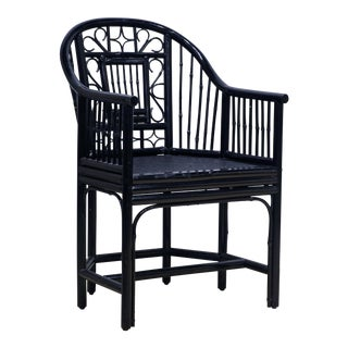 Chippendale Chinoiserie Brighton Pavilion Style Black Lacquered Bamboo Armchair For Sale