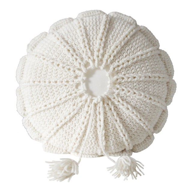 1970's Vintage Knit Macrame Tassled Round Pillow - Image 1 of 3