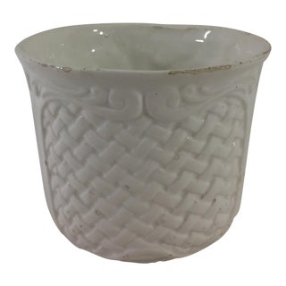 French Creamware Jardiniere with Basketweave pattern For Sale