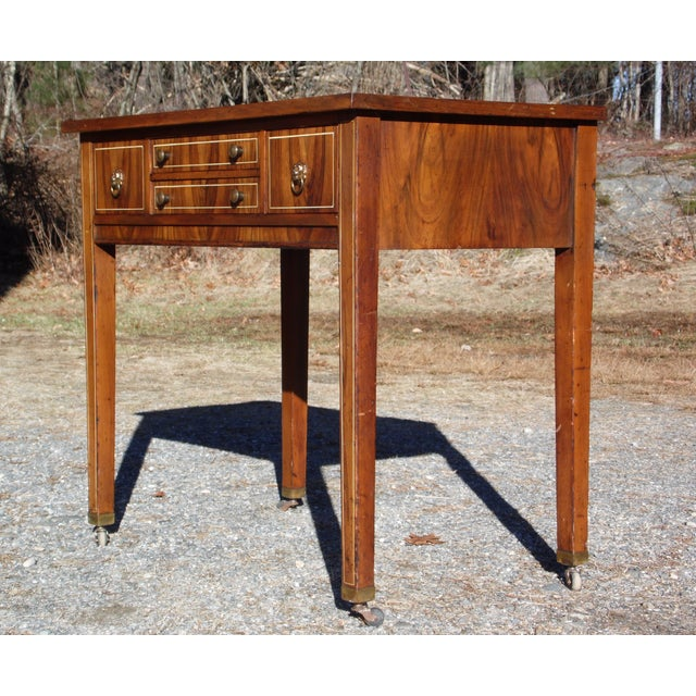 Antique Sheraton Federal Walnut Petite Buffet Server Cart Entry Table Console For Sale - Image 9 of 13