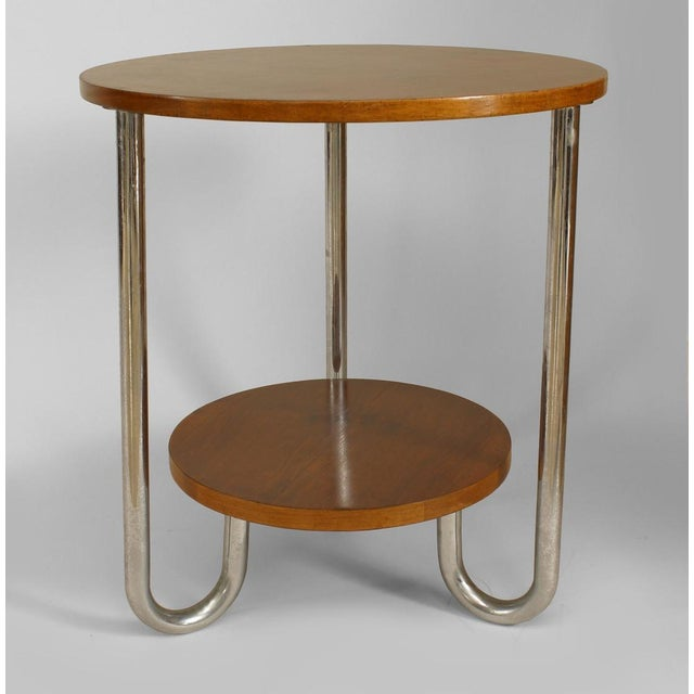 Art Deco French Art Deco Round Fruitwood and Triple Chrome Leg End Table For Sale - Image 3 of 3
