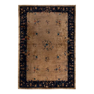 Large Brown Antique Chinese Art Deco Wool Rug 12 Ft X 17 Ft 2 In. For Sale