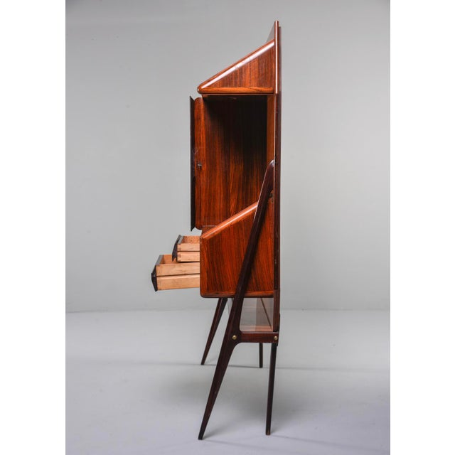 Mid Century Italian Free Standing Rosewood Wall Unit With Marquetry For Sale - Image 4 of 13