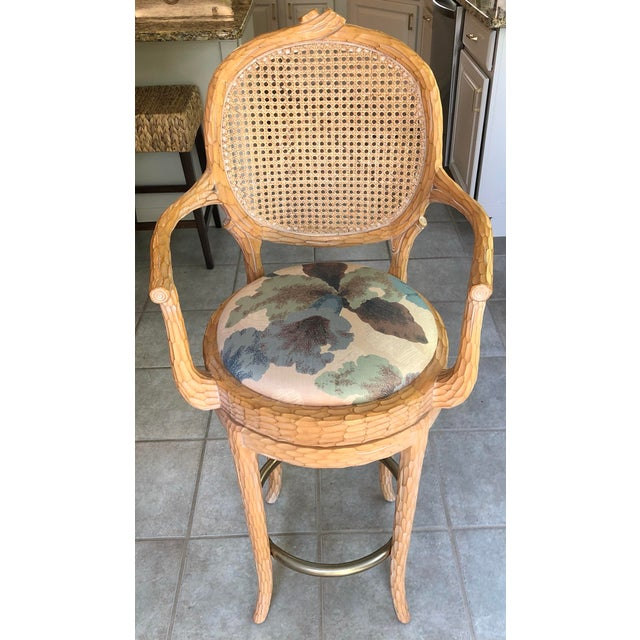 Mid 20th Century Vintage Faux Bois Cane Back Whitewash Natural Wood Stools With Arms and Brass Footrests - Set of 4 For Sale - Image 5 of 11