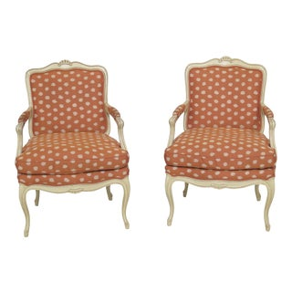 1960s Vintage French Louis XVI Style Upholstered Arm Chairs- A Pair For Sale
