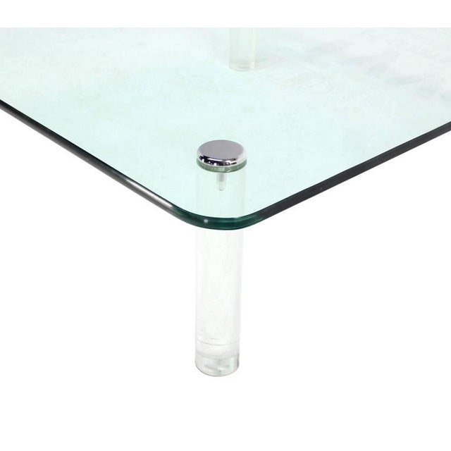 Mid-Century Modern Mid-Century Modern Square Glass Top Coffee Table on Lucite Cylinder Legs For Sale - Image 3 of 8