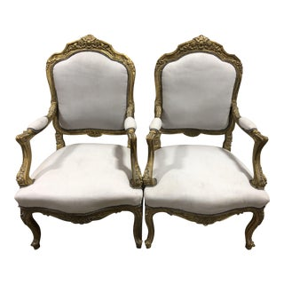 Vintage Louis XV French Rococo Hand Carved Upholstered Chairs - A Pair