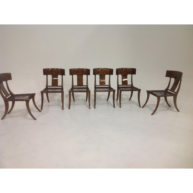 Modern Mid-Century Klismos Style Dining Chairs - Set of 6 For Sale - Image 3 of 7