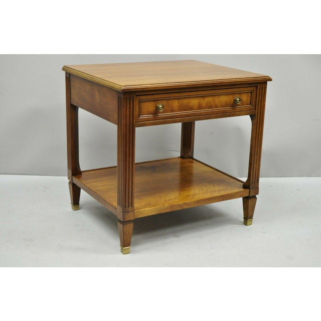 20th Century French Kindel Belvedere 1 Drawer Cherry Lamp Side Table For Sale - Image 11 of 12