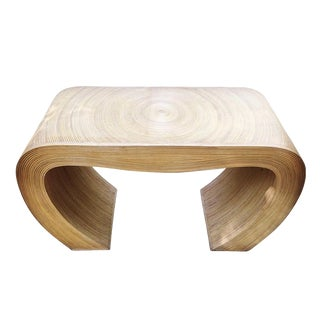 Split Reed Bamboo Sculptural Console Table For Sale