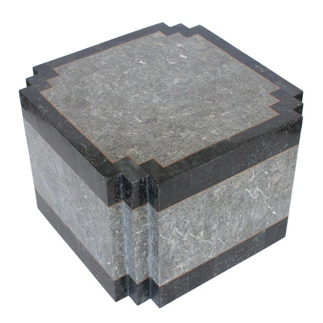 1980's Maitland Smith Tessellated Stone & Brass Side Table For Sale - Image 9 of 9