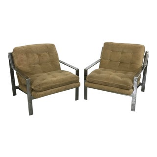 Pair of Mid-Century Modern Lounge Chairs by Cy Mann Flat Z Bar Chrome Cube For Sale