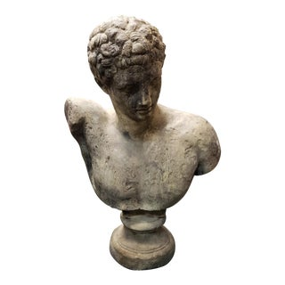 Circa 1890 Italian Roman Classical Style Grisaglia Stone Hermes Bust For Sale
