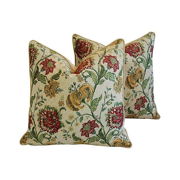 "Early 21st Century Custom Scalamandre Floral Brocade Feather/Down Pillows 24"" Square - Pair For Sale - Image 5 of 14"