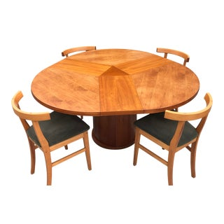 Vintage Scovby Expandable Round Dining Set - 5 Pieces For Sale