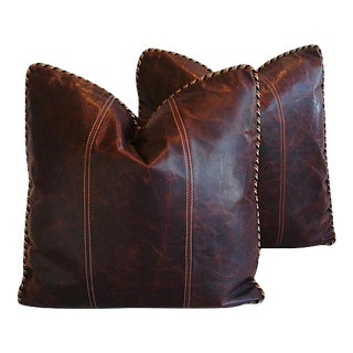 """22"""" Custom Tailored Italian Distressed Leather Feather/Down Pillows - Pair For Sale"""
