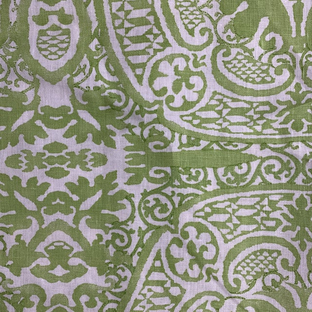 Quadrille Veneto Hand-Printed Lime Linen Fabric For Sale In New York - Image 6 of 7