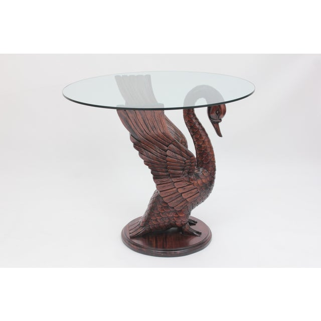 Hollywood Regency Mahogany Wood Swan Table For Sale - Image 3 of 6